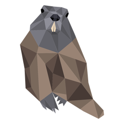 Ground hog marmot fur muzzle tail low poly