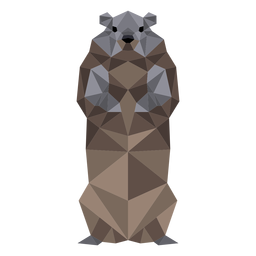 Ground hog marmot muzzle fur low poly