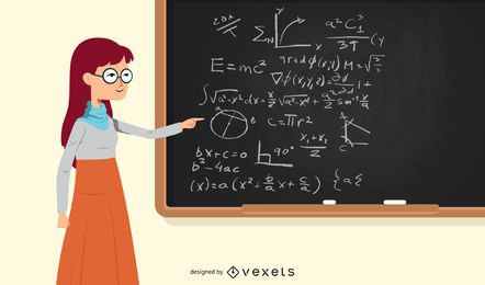 Redhead School Teacher Illustration