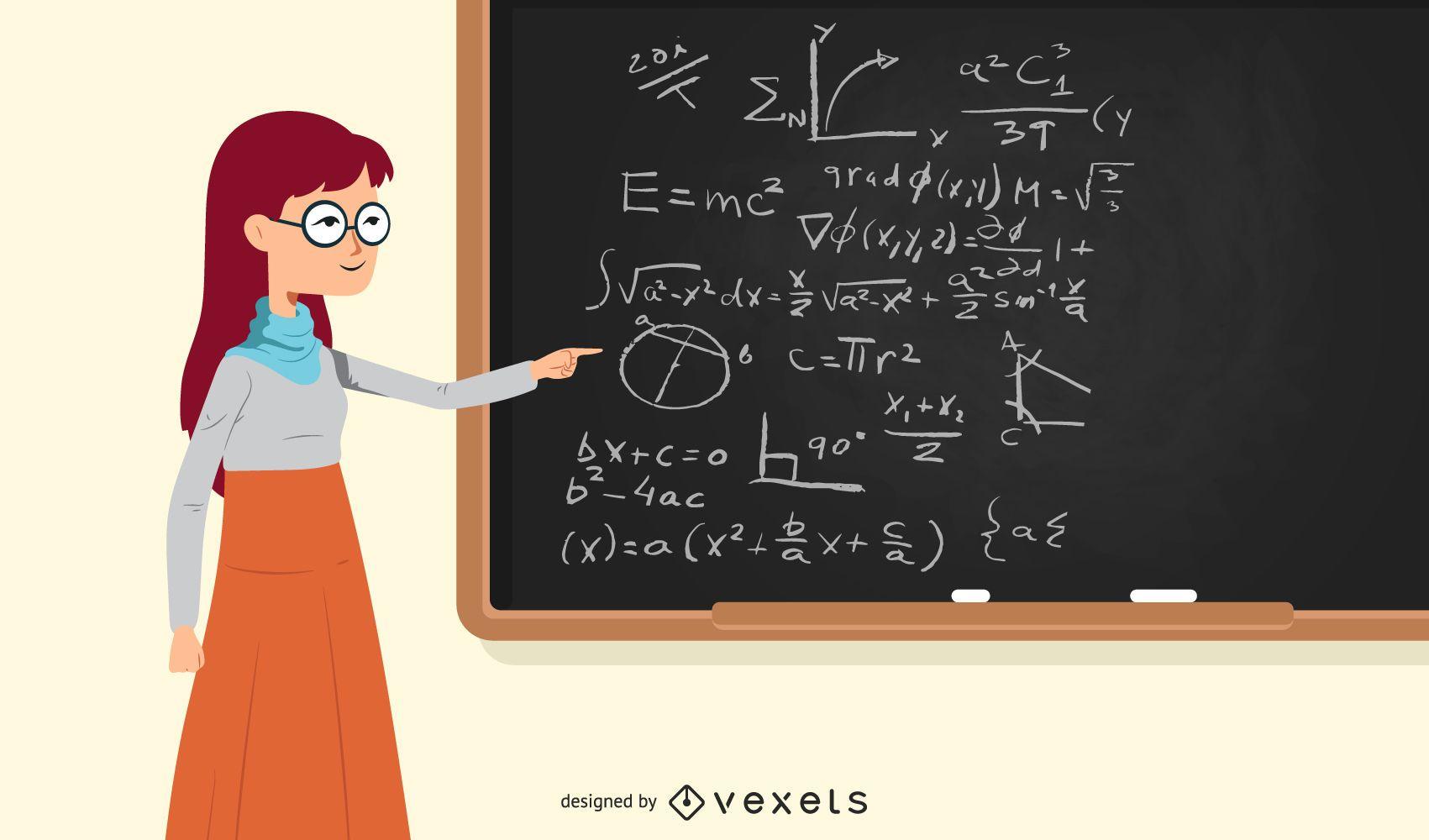 Ilustración de profesor de escuela pelirroja