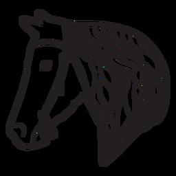 Horse mane bridle illustration