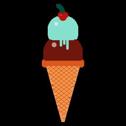 Eiscremekugel-Kirschkegel flach