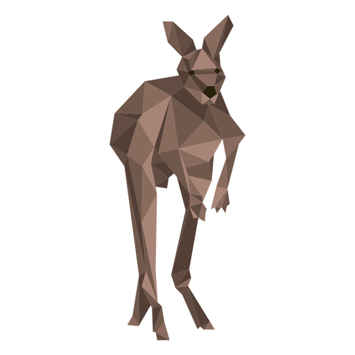 Kangaroo ear tail leg jump low poly Transparent PNG