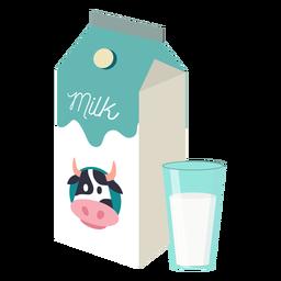 Caja de leche leche vaca vaso plano