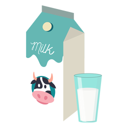 Milk box milk cow glass flat