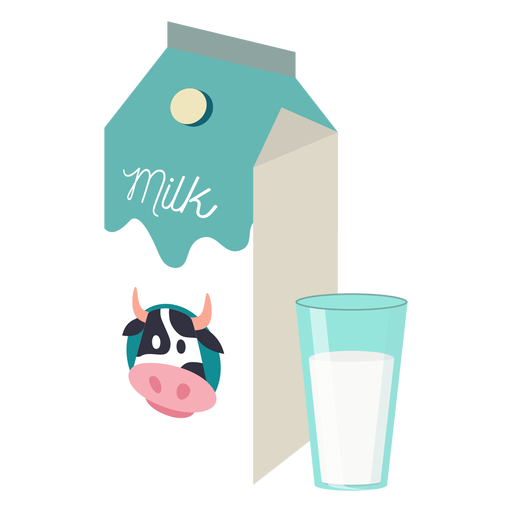 Milk box milk cow glass flat Transparent PNG