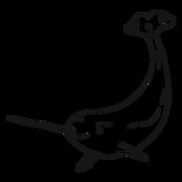 Dibujo de colmillo de cola de aleta de narval