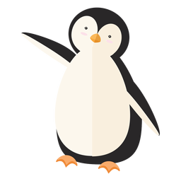 Penguin fat beak wing flat
