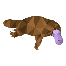 Platypus bico bico de pato perna baixo poli
