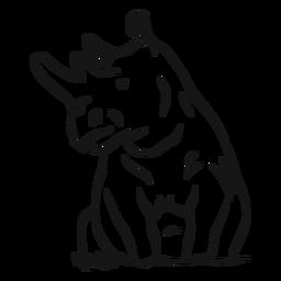 Boceto de hierba de rinoceronte cuerno de rinoceronte