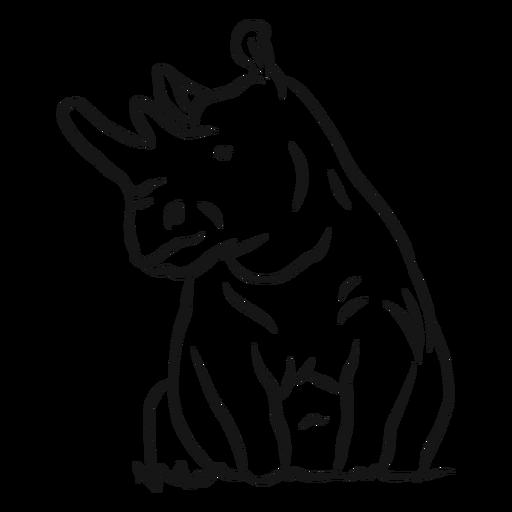 Rhinoceros horn rhino grass sketch Transparent PNG