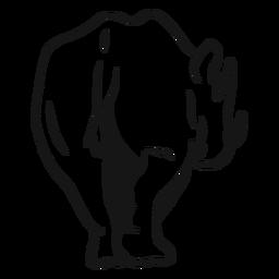 Boceto de cola de cuerno de rinoceronte rinoceronte