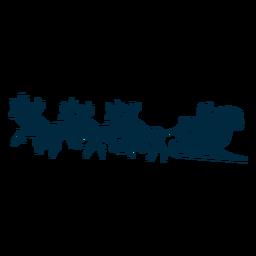 Veado de Papai Noel trenó silhueta de trenó