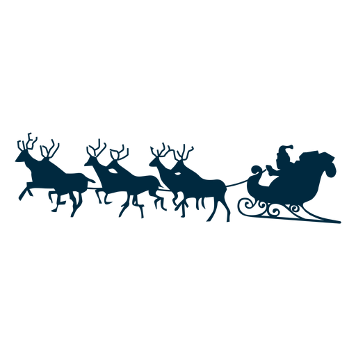 Santa claus deer  Sledge sleigh silhouette Transparent PNG