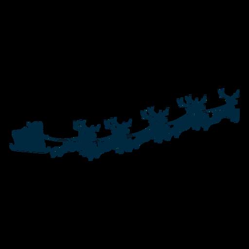 Santa claus deer sleigh sledge silhouette Transparent PNG