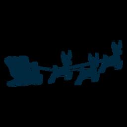 Papai Noel trenó trenó veado silhueta