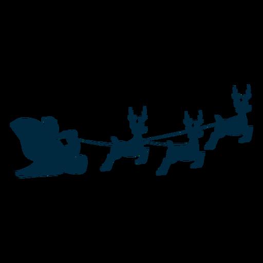 Santa claus sleigh sledge deer silhouette Transparent PNG