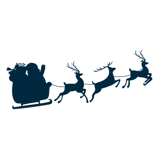 Santa claus sleigh sledge gift sack deer silhouette Transparent PNG