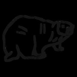 Esboço de cauda gorda de focinho de lontra