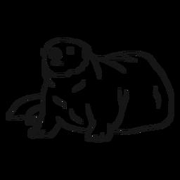 Bosquejo gordo de la cola del hocico de la nutria de mar