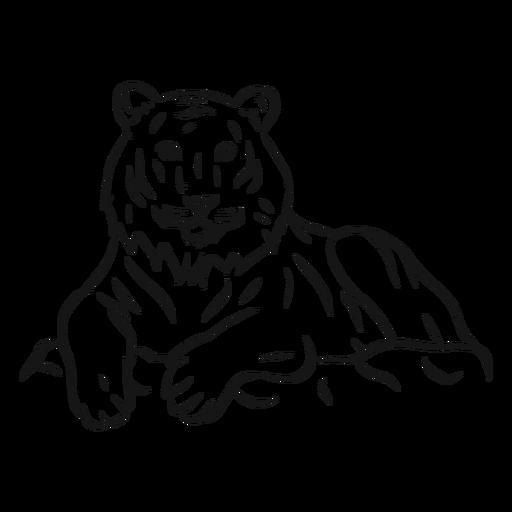 Tiger-Streifenpelzskizze Transparent PNG