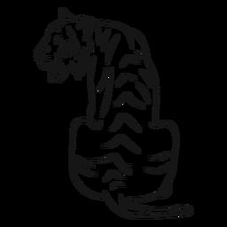 Tiger Streifen Schwanz Skizze