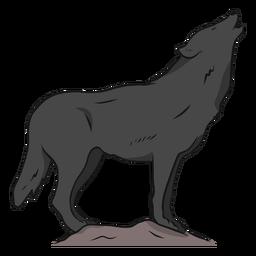 Lobo depredador aullido pierna cola ilustración