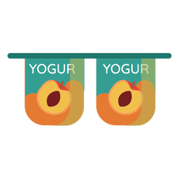 Par de xícara de pêssego iogurte plana