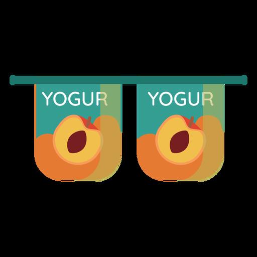 Yoghurt peach cup pair flat Transparent PNG