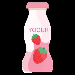 Botella de yogur fresa plana