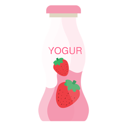 Yoghurt strawberry bottle flat