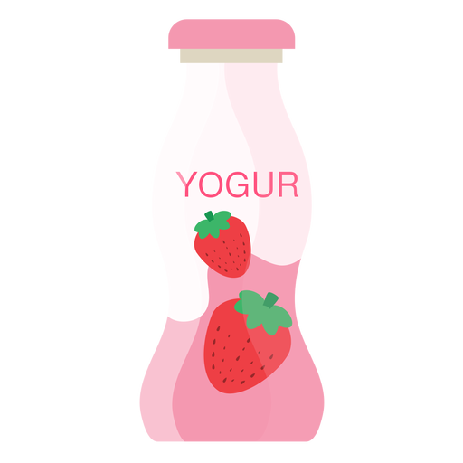 Yoghurt strawberry bottle flat Transparent PNG