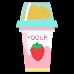 Copa de fresa yogur plana