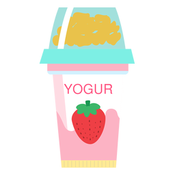 Yoghurt strawberry cup flat