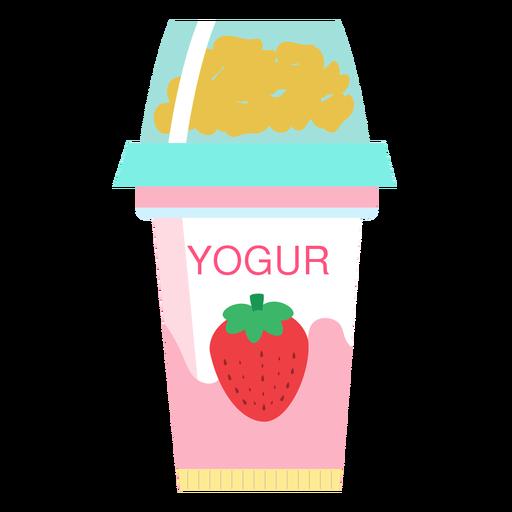 Joghurt-Erdbeertasse flach Transparent PNG