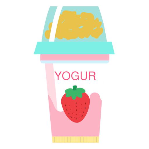 Yoghurt strawberry cup flat Transparent PNG