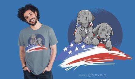 Design americano do t-shirt do cão