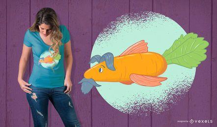 Projeto do t-shirt dos peixes da cenoura