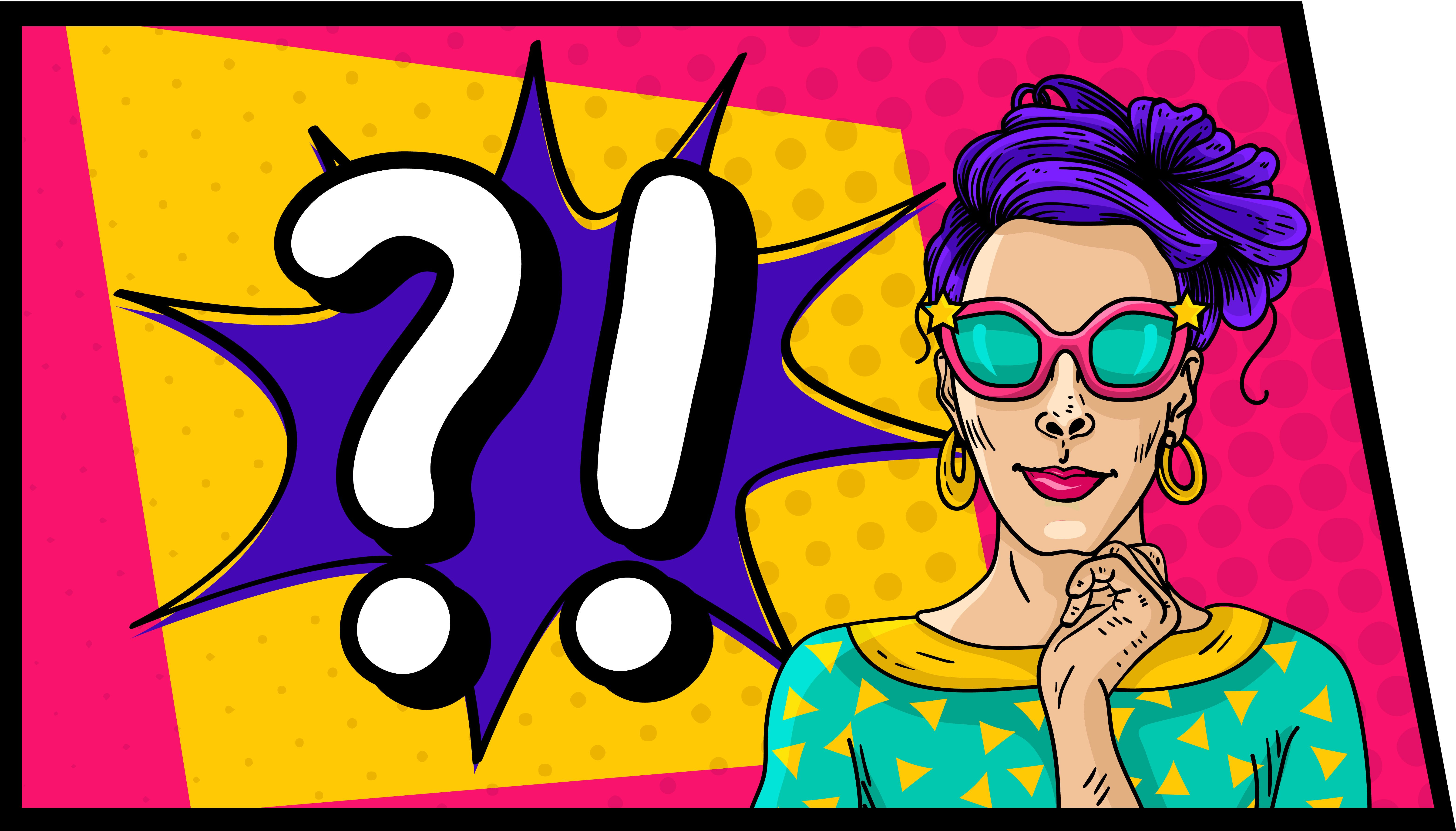 Comic Woman with Sunglasses Vector