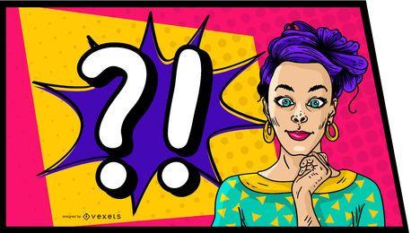 Design de quadrinhos mulher de cabelo roxo