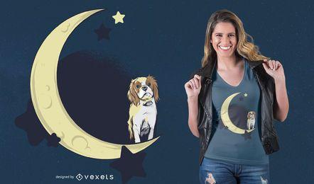 Hund auf dem Mond T-Shirt Design