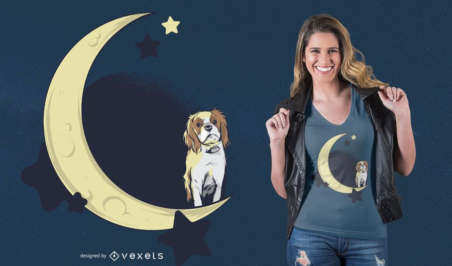 Diseño de camiseta Dog on the Moon