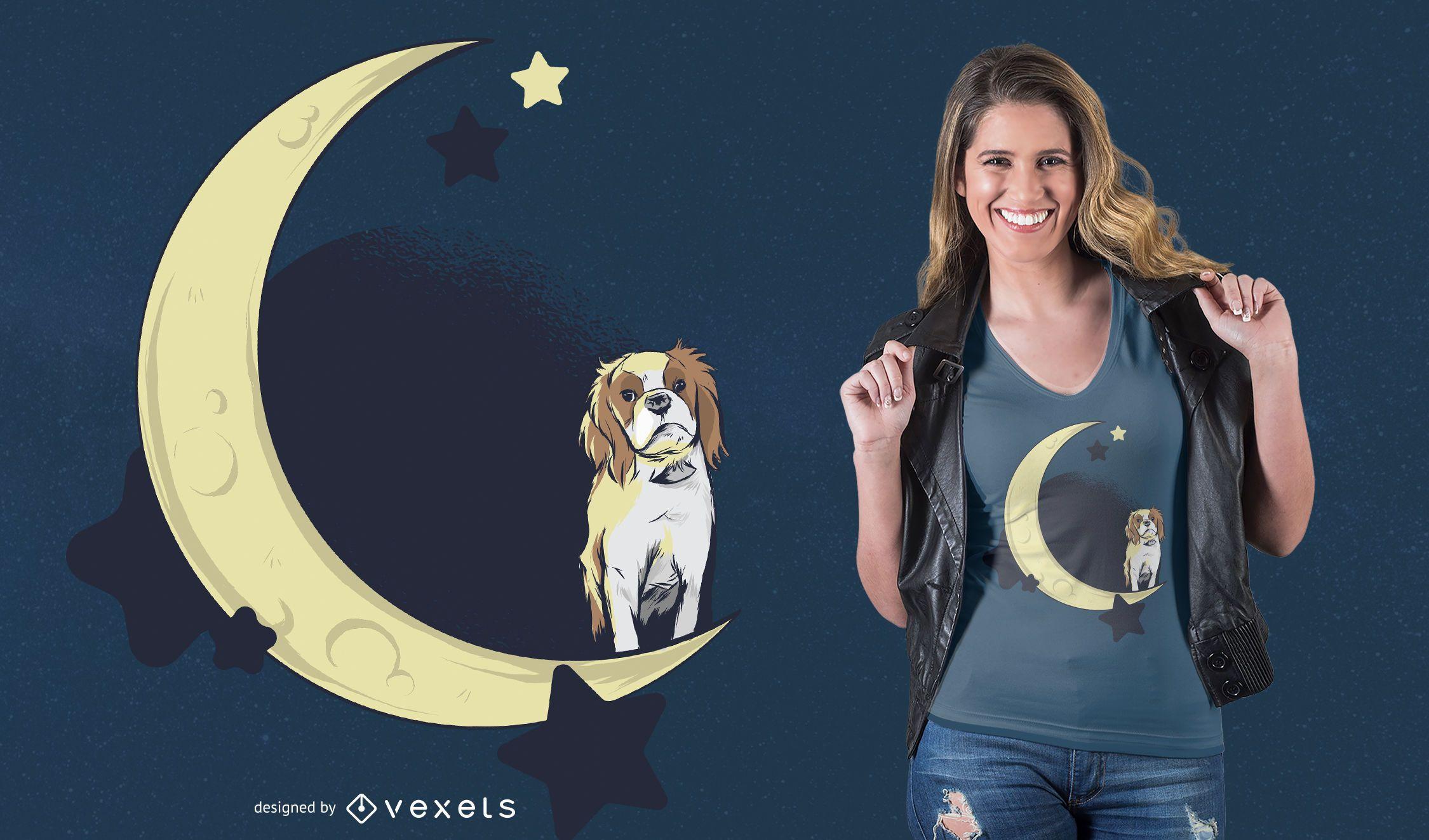Diseño de camiseta de perro en la luna