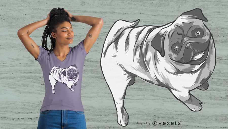 Smiling Pug T-shirt Design