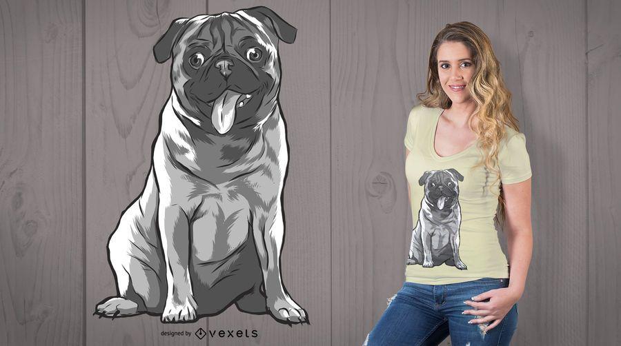 Pug diseño de camiseta en blanco y negro