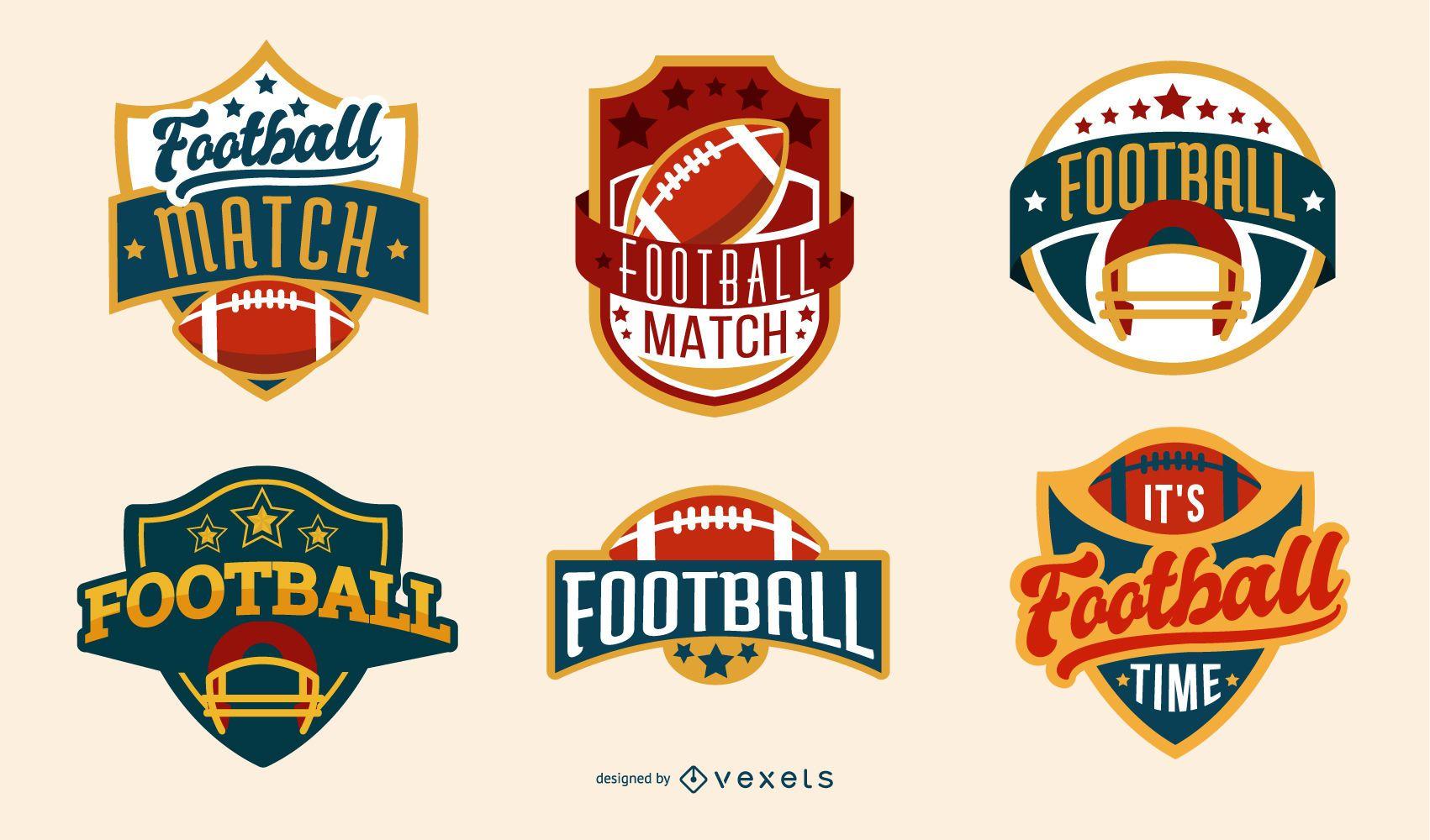American Football Badges Set