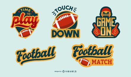 Conjunto de distintivo de rótulo de futebol americano