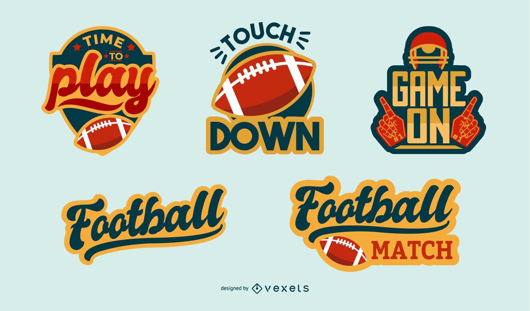Conjunto de insignias de etiquetas de fútbol americano