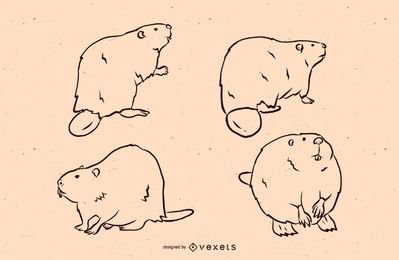 Beaver line illustration set