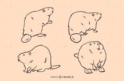 Conjunto de ilustração de linha de castor